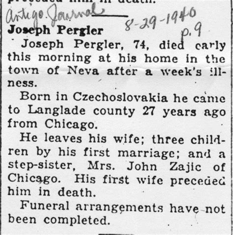 Illinois Marriage Records After 1900 Pergler Family History Joseph Joe Pergler 1848 1906
