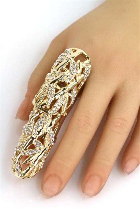 Eheringe Finger by 25 Rhinestone Leaf Finger Ring Ring Bracelet