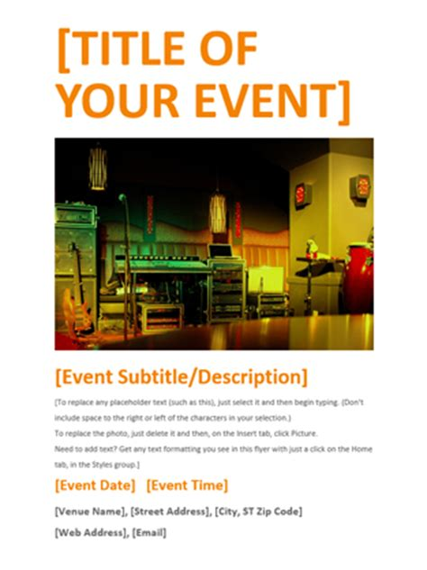 Event Flyer Orange Office Templates Event Flyer Templates For Microsoft Word