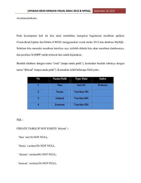 membuat aplikasi crud dengan vb net dan database microsoft aplikasi crud dengan visual basic 2012