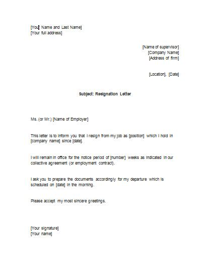 Contract Resignation Letter resignation letter for a pc permanent contracts
