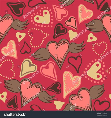 doodle version seamless doodle hearts on pink background for vector