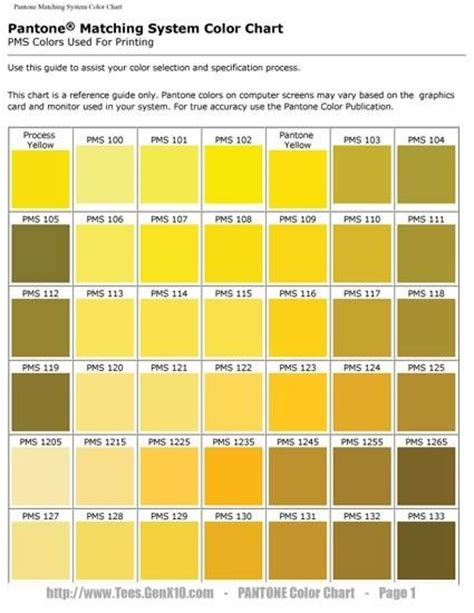 various shades of yellow pantone on pinterest