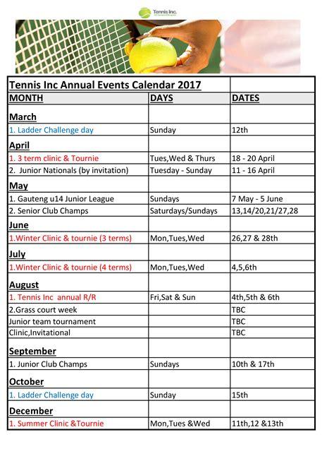 annual event calendar sample templates