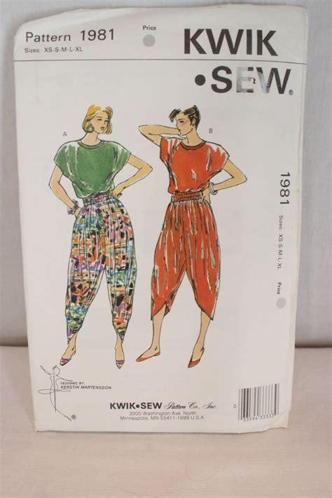 sewing pattern harem pants vtg kwik sew harem pants top pattern 1981 sealed ff