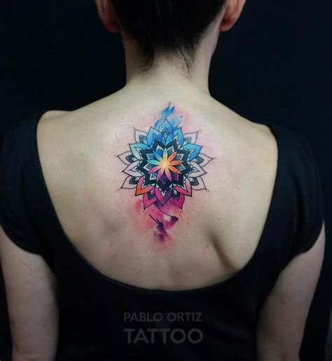 vibrant watercolor mandala back piece best tattoo design