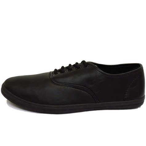 mens black casual flat lace up pumps plimsolls trainers