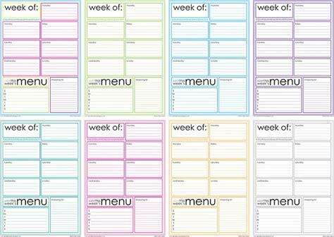 free printable weekly menu planner