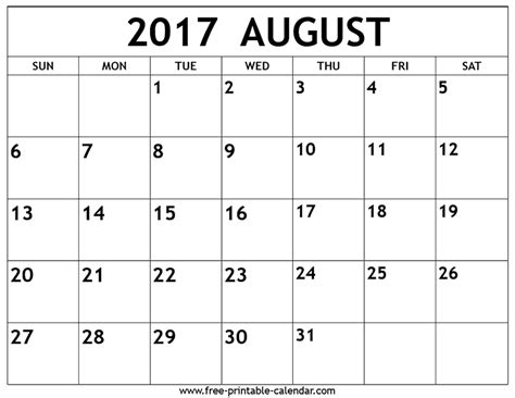august 2017 calendar with us holidays