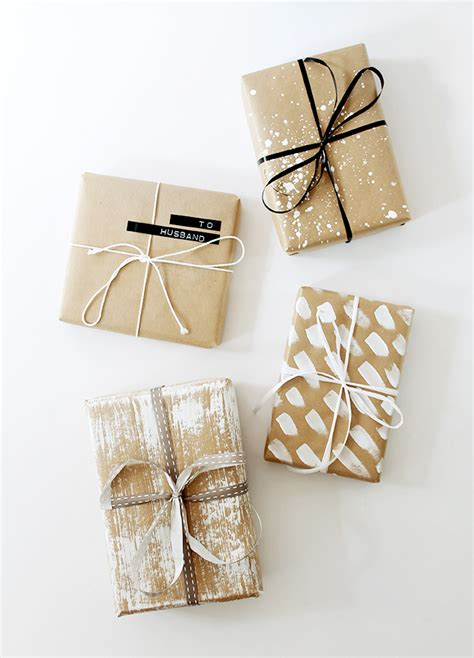 Handmade Wrapping Paper Ideas - four diy gift wrap ideas wraps gift and brown paper