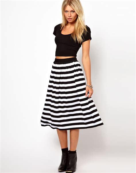 asos midi skirt in stripe style