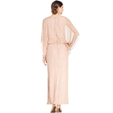 patra dress sleeve beaded sequin patra kimono sleeve beaded blouson gown in pink blush lyst