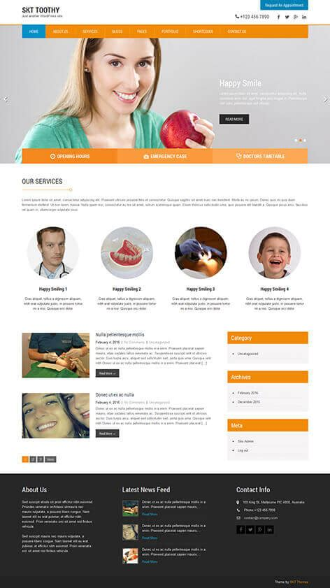 design by skt themes free dentist wordpress theme for dental clinics and
