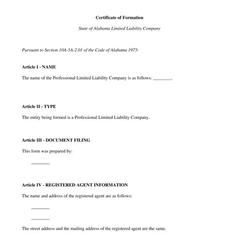 certificate of organization template articles of organization template word pdf