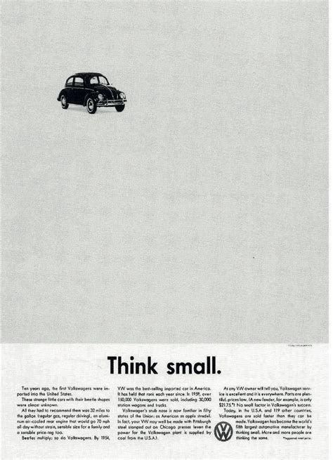 volkswagen think small 45 years ago an ad caign made the beetle the s