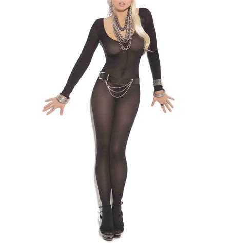 New Bodystocking Bsolg75 Open Crotch womens sheer sleeve open crotch bodystocking ebay