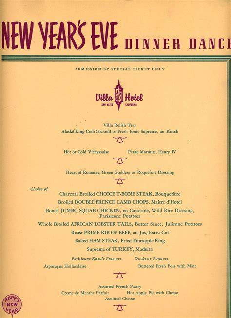 new year dinner menu villa hotel dinner new years menus 1950s villa square