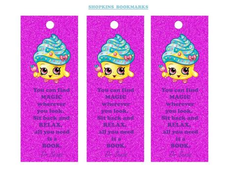 Printable Girl Bookmarks | shopkins bookmarks free printable instant party