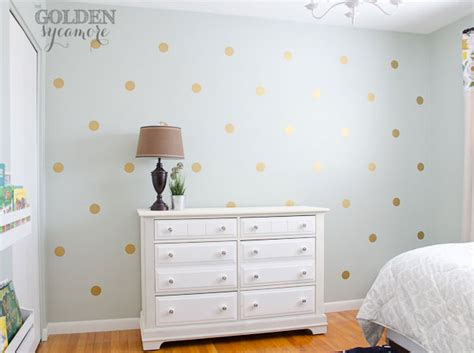 how to paint polka dots on bedroom walls diy gold polka dot wall the golden sycamore