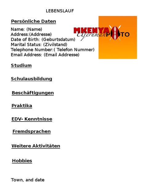 German Lebenslauf In How To Write A German Cv Lebenslauf Mkenya Ujerumani