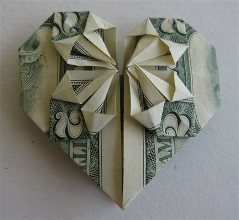 Money Origami With Quarter - paper folding dollar bills