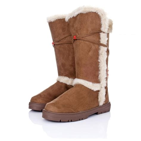buy flat winter ella boots chestnut suede style
