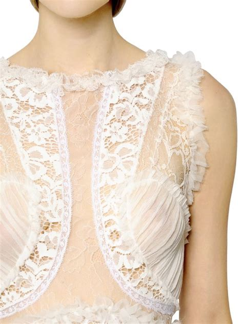 Lace Patchwork - ricci silk chiffon and lace patchwork dress in white