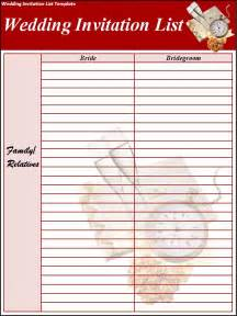 wedding invitation list template excel pdf formats