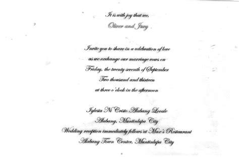 civil wedding invitation wordings philippines civil wedding invitation sle philippines matik for