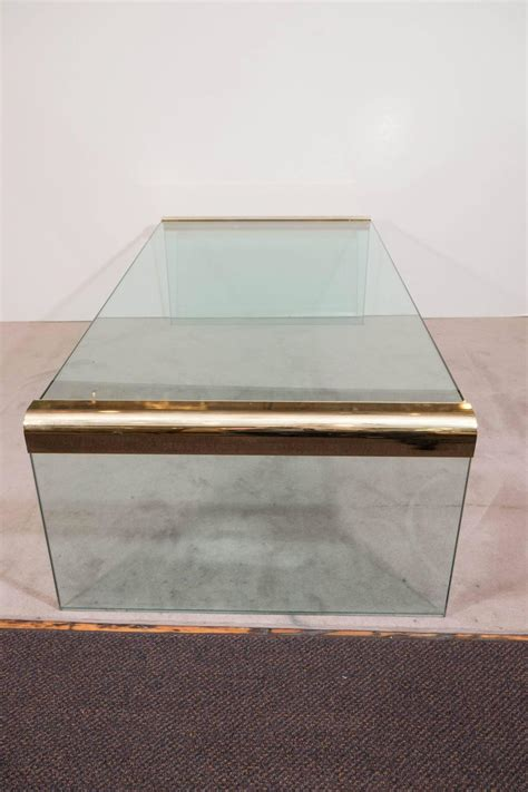 Glass Waterfall Coffee Table Pace Collection Glass Waterfall Coffee Table With Brass Trim For Sale At 1stdibs