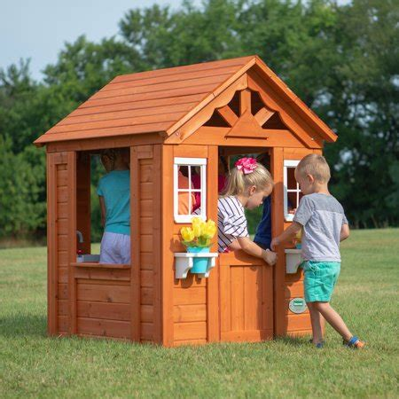 backyard play houses backyard discovery timberlake cedar wooden playhouse walmart