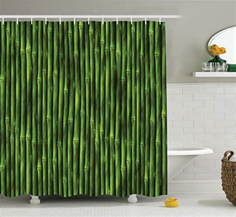 nature inspired shower curtains bamboo shower curtain by ambesonne bamboo stems pattern