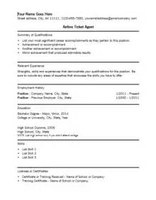 Airline Ticket Sle Resume by Airline Ticket Resume Template