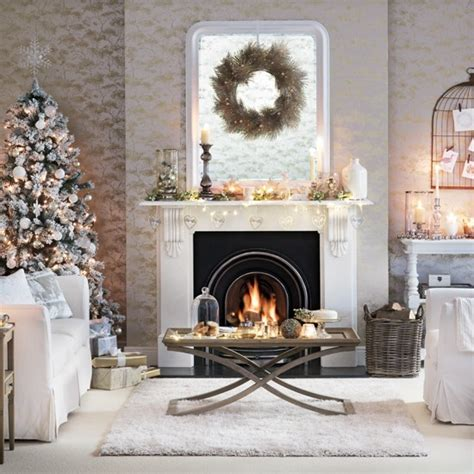 White And Silver Living Room | white and silver living room with christmas tree