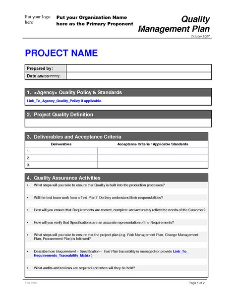 quality plan sle template project management quality management plan