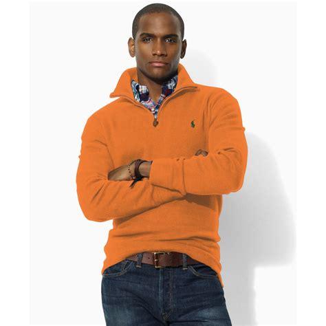 New Jaket Sweater Polos Hoodie Zipper Orange Oren ralph polo fleece half zip sweater in orange for lyst