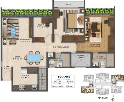 solitaire floor plans 819 sq ft 2 bhk 2t apartment for sale in wadhwa solitaire
