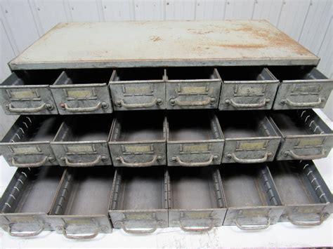 Vintage 18 Drawer Industrial Steel Small Parts Bin Storage