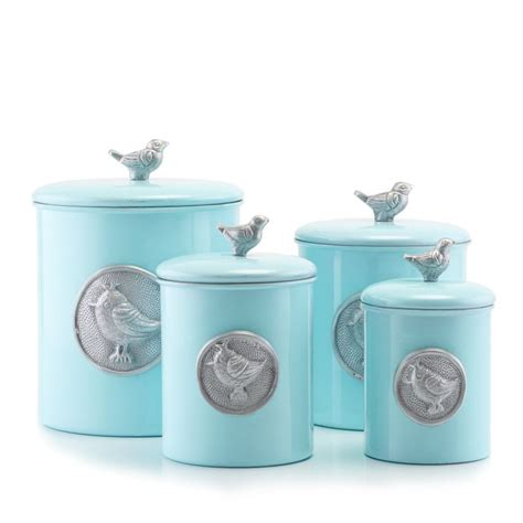 blue kitchen canister set old dutch international 4 piece lauren bird canister set