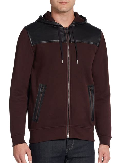 Hoodie The Combinations lyst marc by marc thompson leather combo hoodie in purple for