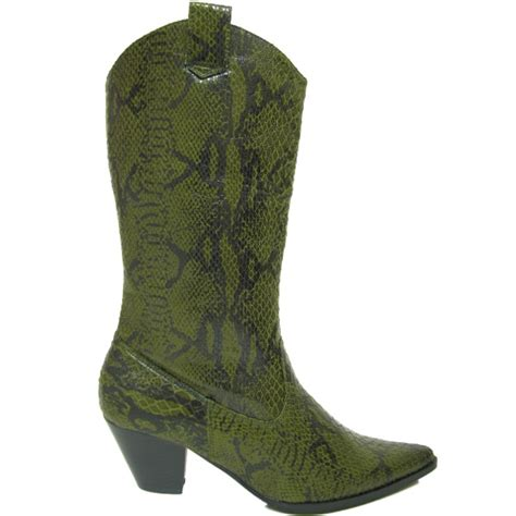 green cowboy boots new green snakeskin cowboy western boots ebay