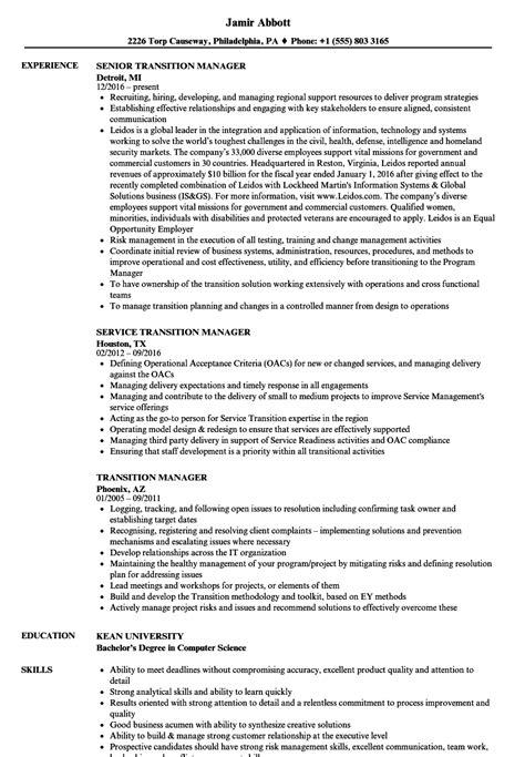 Transition Resume by Transition Manager Resume Sles Velvet