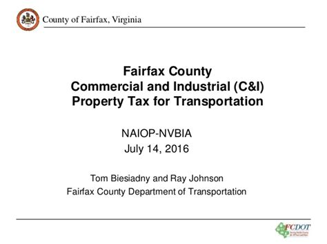 Fairfax County Personal Property Tax Records Fairfax County Commercial And Industrial Property Tax For Transportat