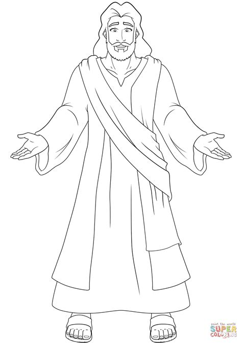 jesus coloring pages jesus with open coloring page free printable