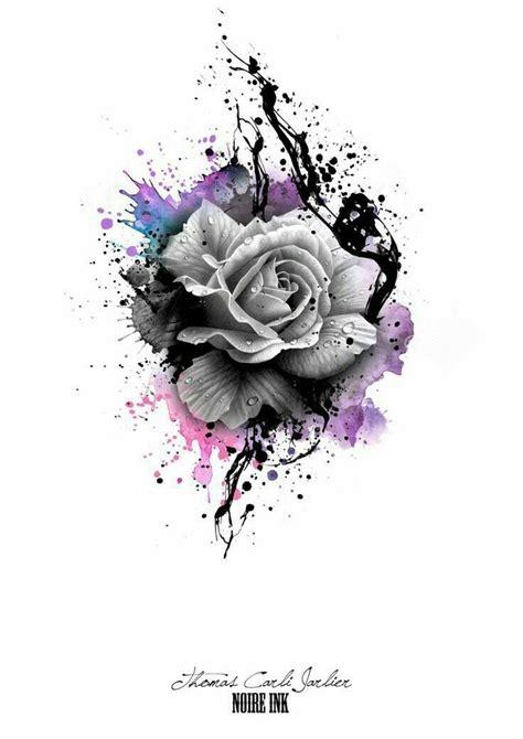 rosen tattoo disney graue und bunte farben