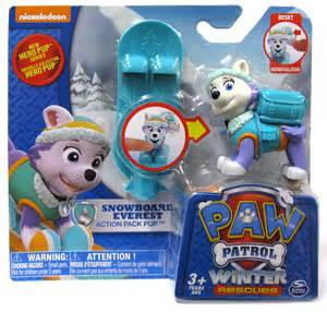 Paw patrol action pack amp badge snowboard everest figure on sale at