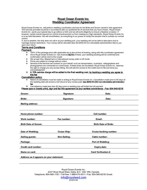 wedding planner contract sle templates life hacks