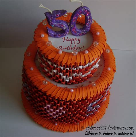 3d Origami Cake - 3d origami birthday cake top view by artlover327 on