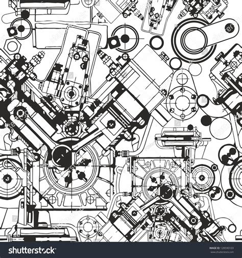 doodle engine drawing engine seamless pattern background seamless stock