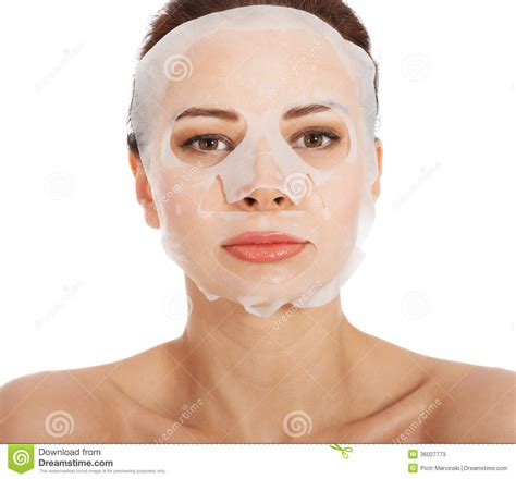 Collagen Mask beautiful with collagen mask on stock photos